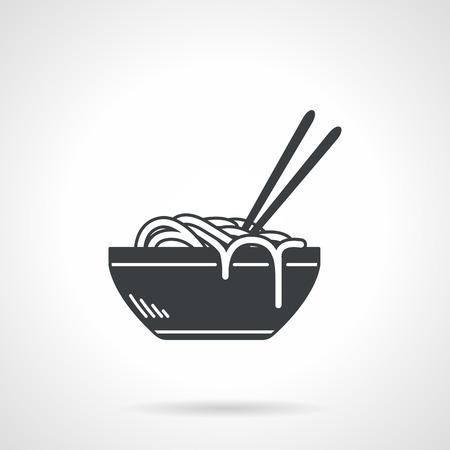Einzelne schwarze Silhouette Vektor-Symbol für die Schüssel mit ramen oder Nudeln mit zwei Stäbchen auf weißem Hintergrund Illustration