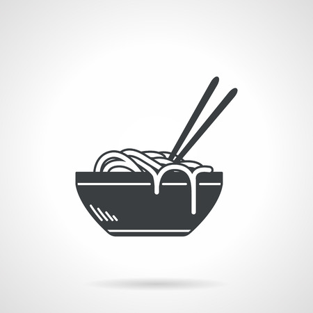 Single black silhouette vector icon for bowl with ramen or noodles with two chopsticks on white background Illustration