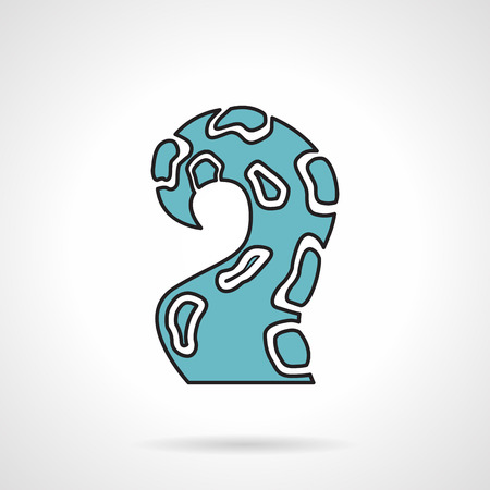 tentacle: Single flat color design vector icon for blue tentacle of octopus or squid on white background. Illustration