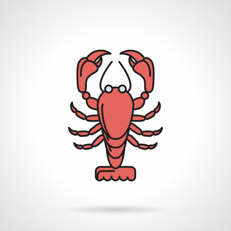 Single flat color design vector icon for red lobster on white background. Seafood menu