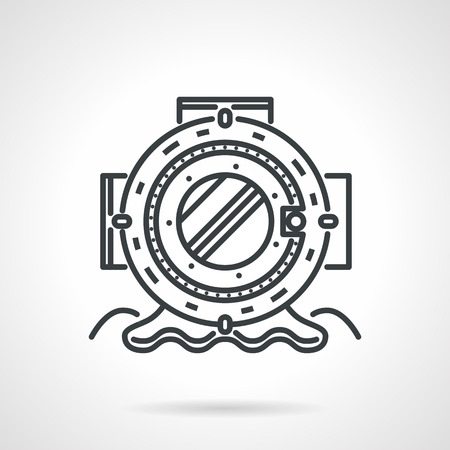 depth: Single flat black line vector icon for helmet for depth on white background. Diving gear