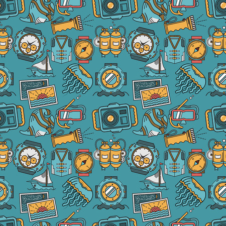 lifejacket: Seamless pattern with flat color design elements of sea active leisure and diving on blue background. Illustration