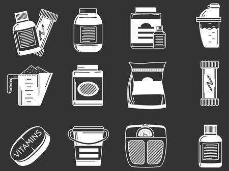 nutrition: White contour icons collection of elements for healthy sports nutrition on black background.