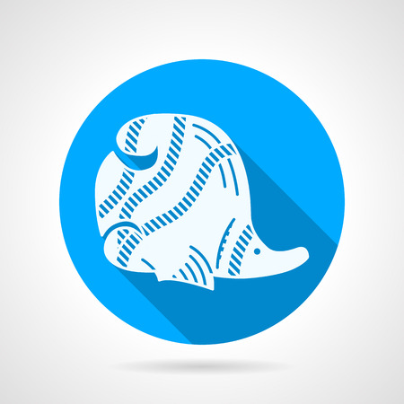 butterflyfish: Flat round blue icon with white silhouette striped butterfly fish on gray background