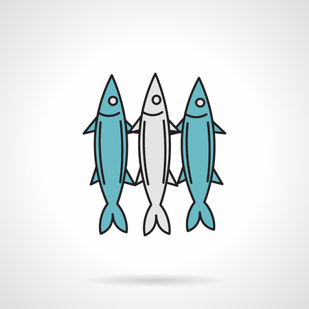 spearfishing: Flat color design icon for three sea fishes on white background Illustration