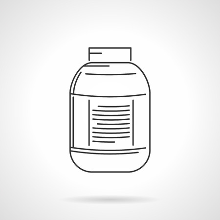 nutritional: Black line icon for plastic jar with label for nutritional or sport supplements on white background. Illustration