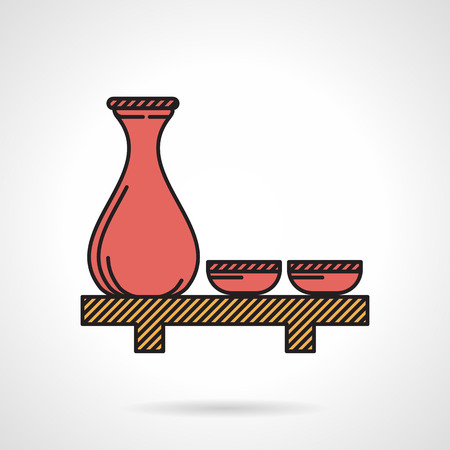 rice wine: Flat color design icon for red jug and two cups for sake on wooden tray on white background.