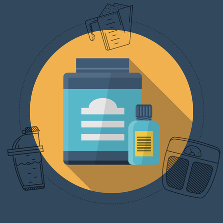 supplements: Flat color design illustration with round yellow icon for sport supplements jars and gray contour diet elements around on blue background