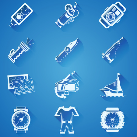 oxygen transport: White silhouette icons collection of equipment and outfit for diving on blue background.