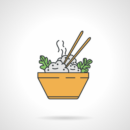 cooked rice: Flat color design icon for yellow bowl with hot rice and chopsticks on white background