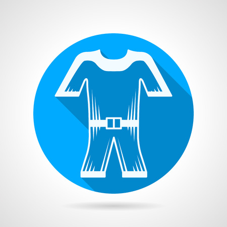 wetsuit: Flat round blue icon with white contour wetsuit on gray background