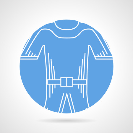 wetsuit: Abstract round blue icon with white line wetsuit on gray background.