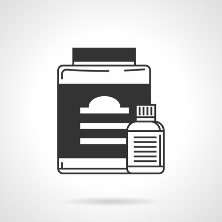 appetite: Flat black line vector icon for vitamins and appetite suppressant jars for athlete diet on white background.