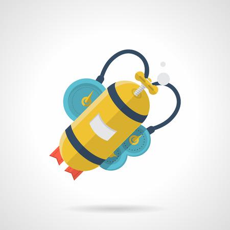 oxigeno: Piso de iconos de vectores estilo de color amarillo con escafandra aut�noma para la consola azul sobre fondo blanco. Vectores