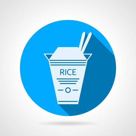 chinese take away container: Flat blue round icon with white silhouette cardboard rice pack for take-away menu on gray background