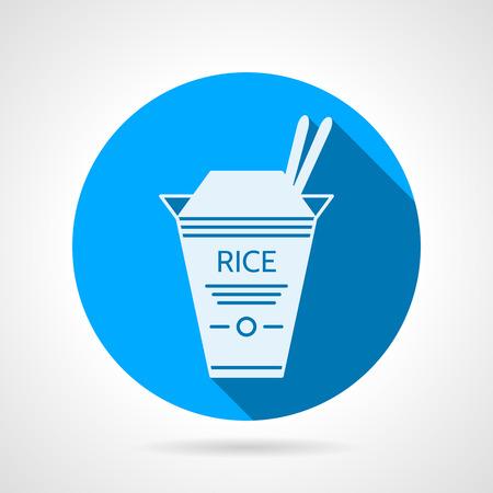 reis gekocht: Wohnung blaue runde Symbol mit wei�en Silhouette Karton Reis Pack f�r Take-away-Men� auf grauem Hintergrund