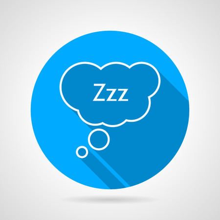 zzz: Flat blue round vector icon with white line sleeping bubble speech with letters Zzz on gray background. Long shadow design.