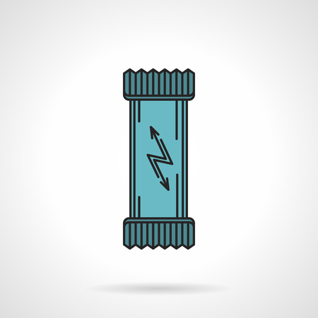 jolt: Flat color design vector icon for energy bar in blue pack with lightning on white background. Sports nutrition supplements.