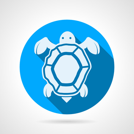 Flat blue round vector icon with white silhouette sea turtle on gray background. Vector