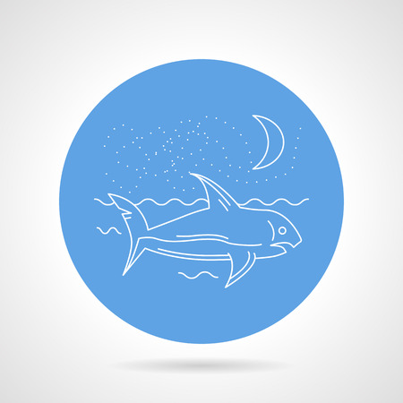 sky dive: Blue round vector icon with white line floating shark, night seascape on gray background.