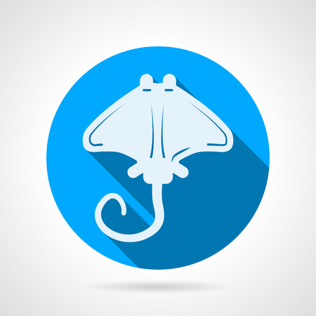 Flat blue round vector icon with white silhouette stingray on gray  background. Long shadow design Vector