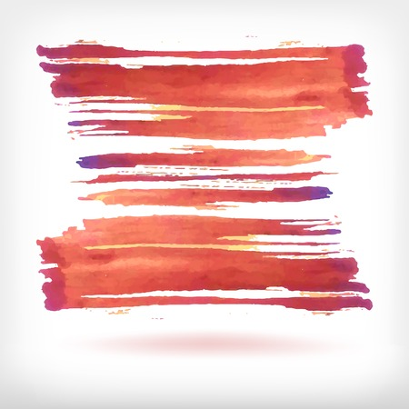 Watercolor vector illustration or banner with red dry brush strokes on white background. Vector