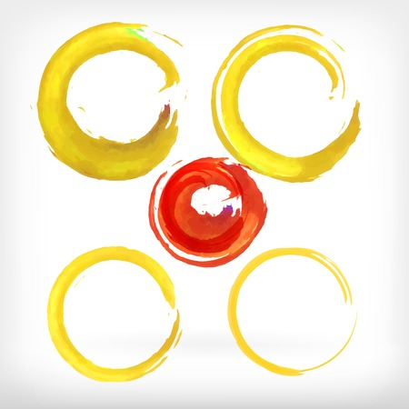 Watercolor vector illustration or banner with red and yellow ring brush strokes on white background.