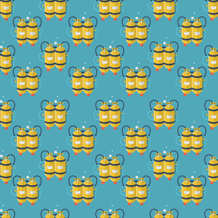 aqualung: Seamless vector pattern with flat color design yellow aqualung with two cylinders for scuba diving on blue background. Illustration