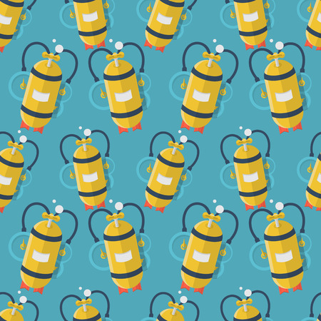 aqualung: Seamless vector pattern with randomly flat color design yellow aqualung with one cylinder for diving on blue background. Illustration