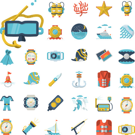 Set of flat color design vector icons with elements for active sea leisure, diving and underwater objects on white background.