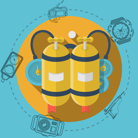 Flat color design vector illustration with round yellow icon for aqualung and gray contour diving gear around on blue background. Long shadow design Vector