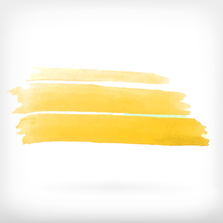 daubs: Watercolor vector illustration or banner with three yellow brush daubs on gray background.