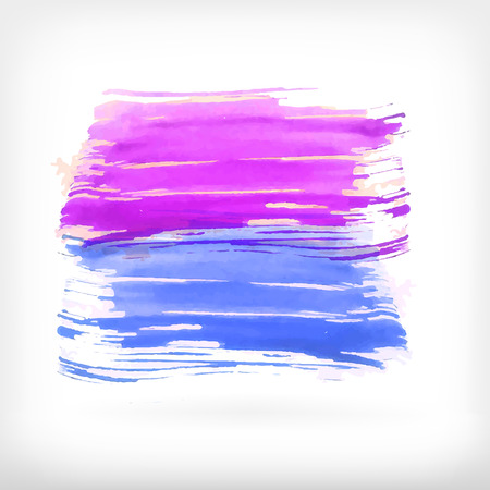 daubs: Watercolor vector illustration or banner with blue and purple brush daubs on gray background.