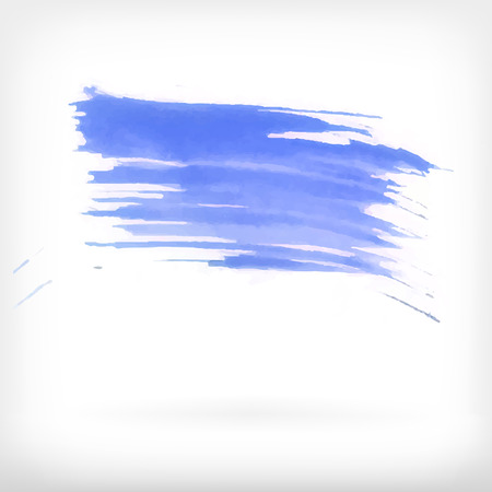 daubs: Watercolor vector illustration or banner with blue brush daubs on white background.