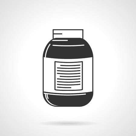 Flat contour vector icon for black jar with white label for sports or nutritional supplements on white background.
