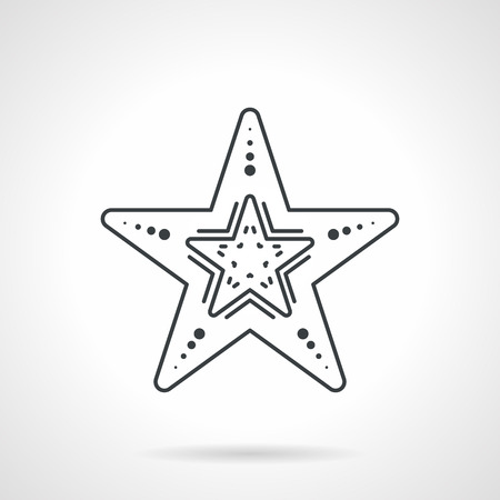 finger fish: Flat black line vector icon for undersea creature starfish on white background.