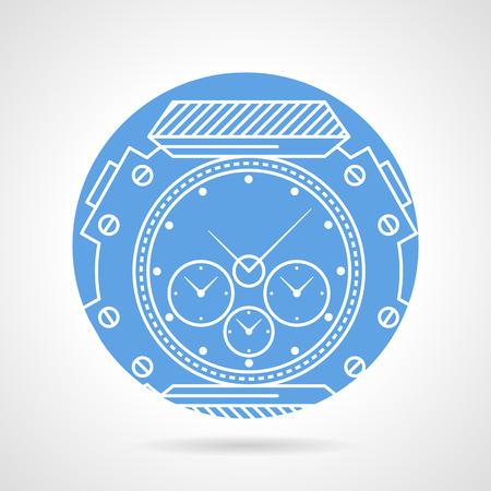 cronografo: Azul del icono del vector redonda con la muñeca deportes línea blanca reloj con cronógrafo y taquímetro sobre fondo gris. Vectores