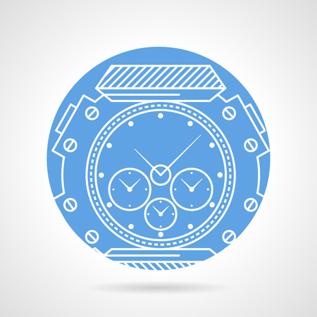 tachymeter: Blue round vector icon with white line sports wrist watch with chronograph and tachymeter on gray background.