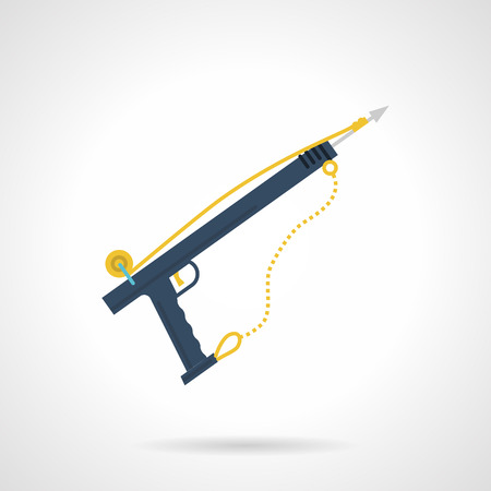 speargun: Flat color design vector icon for blue harpoon for underwater sport on white  background. Illustration