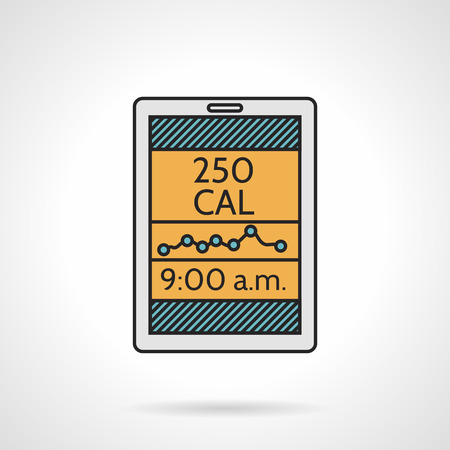 Flat color design vector icon for calorie count device or app for phone on white  background. Illustration
