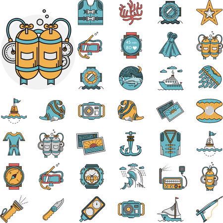 Set of flat color design vector icons for active sea leisure elements and diving objects on white background. Vector