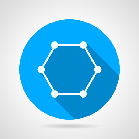 Flat round blue vector icon with white contour cyclic molecule on gray background. Long shadow design