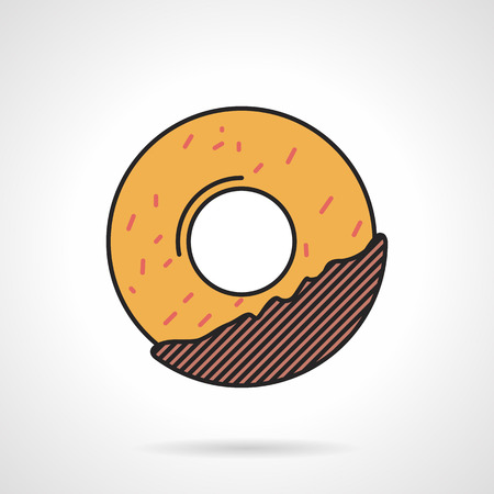 glaze: Flat color design vector icon for ring donut with chocolate glaze on white background.
