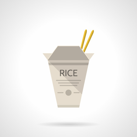 chinese take away container: Flat color style vector icon for gray cardboard box with rice and chopsticks on white background. Takeaway menu Illustration