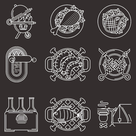 Set of white line vector icons for elements of barbecue or outdoors leisure on black  background. Vector
