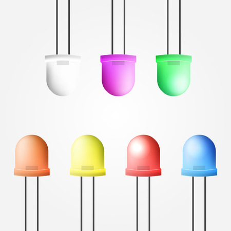 light emitting diode: Vector illustration of colored LEDs collection on gray background.