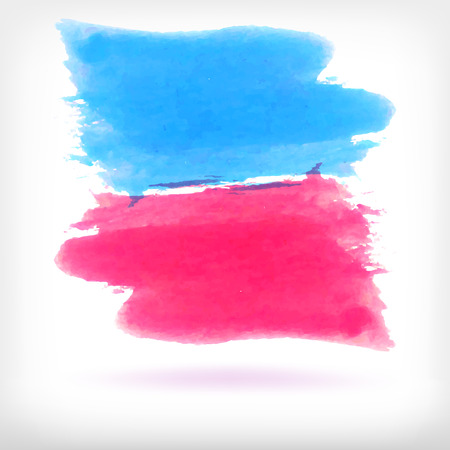 daubs: Watercolor vector illustration or banner with blue and pink soft brush daubs on white background. Illustration