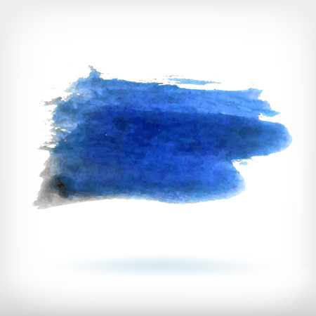 dabs: Watercolor vector illustration or banner with dirty blue brush dabs on white background.