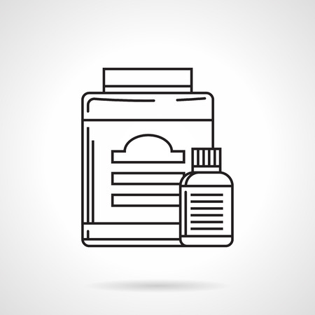 surrogate: Black line vector icon for two nutritional or medical supplements containers with label on white  background.