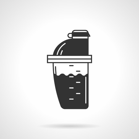 protein: Black vector icon for shaker bottle with protein cocktail on white background.